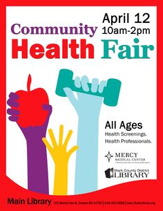 Thursday, Apr 12 • 10:00 am - 2:00 pm • Main Library....All Ages: Health professionals from 11 departments at Mercy Medical Center and from 17 other Community Health Organizations will be on hand to provide free health screenings and to discuss health issues. Some of the screenings will include dental health, blood pressure, diabetes, bone density, hearing and vision. Also provided will be information about smoking cessation and strokes, plus mental health and more.