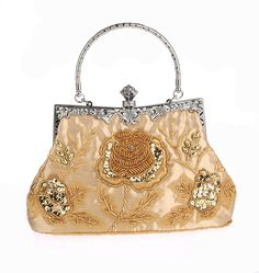 WOMEN S VINTAGE STYLE ROSES BEADED AND SEQUINED EVENING BAG Vintage Handbags d7ae5cc487db