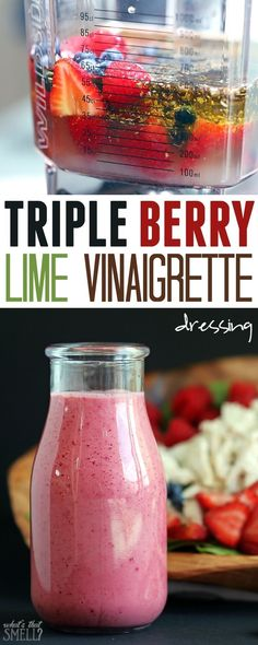 REDUCE OIL: Triple Berry Lime Vinaigrette Dressing - fresh strawberries, raspberries & blueberries combine with a touch of lime in this sweet yet tart vinaigrette dressing. Vinaigrette Dressing, Salad Dressing Recipes, Salad Recipes, Whole30 Salad Dressing, Avacado Dressing, Balsamic Dressing, Chutneys, Marinade Sauce, Homemade Dressing