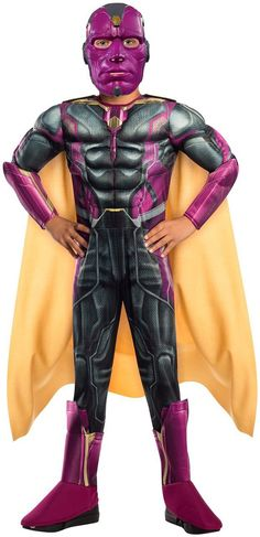 OFF or FREE SHIP -Boys Halloween Costume-Vision Kids Costume Large : Your child can become his favorite hero The Vision from the Avengers Age of Ultron movie! Deluxe padded jumpsuit with gauntlets and boot tops, cape and mask. Boy Costumes, Super Hero Costumes, Halloween Cosplay, Halloween Costumes For Kids, Avengers Costumes, Awesome Costumes, Costume Ideas, Halloween Party, Shopping