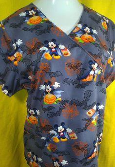 Disney Mickey Mouse ~ Halloween Scrub Top ~ Large 3 Pocket Cinch Tie Back ~NWOT #Disney #Tunic #Halloween