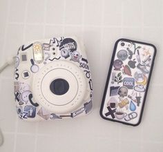 White Instax Mini 8 and iPhone case covered in a collage of emoji stickers  case, sticker, and goals