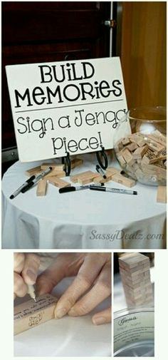 Alternative Wedding Guest Book or house warming Ideas – Jenga, Corks, Wishing Stones.love it! decoration at home Alternative Wedding Guest Book Ideas – Jenga, Corks, Wishing Stones Diy Wedding, Dream Wedding, Wedding Day, Wedding Book, Wedding Venues, Spring Wedding, Wedding Guest Favors, Jenga Wedding Guest Book, Wedding Ceremony