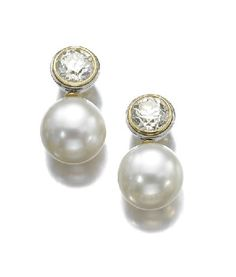 Cultured Pearl and Diamond Ear Studs, Hemmerle