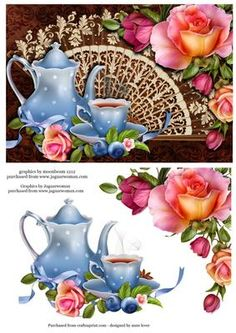 Tea Time with Fan Romantica Roses on Craftsuprint designed by Anne Lever - This lovely feminine topper features a teapot and cup, and gorgeous fan and romantica roses - Now available for download!