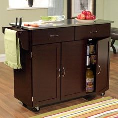 Amazon.com: Kitchen Cart with Stainless Steel Top Base Finish: Espresso: Home & Kitchen