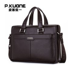 ==> [Free Shipping] Buy Best P.KUONE Genuine Leather Man Fashion Briefcase High Quality Business Shoulder Bag Casual Travel Handbag Luxury Brand Laptop Bag Online with LOWEST Price   32746392409