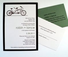 Green and brown bike themed wedding invitation