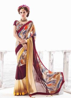 Rich look attire to give your a right choice for any party or function. Include your self of the glamour of a season with this elegant multi colour georgette casual saree. The appealing lace and print...