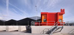 Image 1 of 20 from gallery of Milieustraat Recycling Centre / Groosman. Photograph by Theo Peekstok Recycling Plant, Recycling Center, Industrial Architecture, Space Architecture, Building Facade, Shopping Center, Recycled Materials, Centre, Hardware