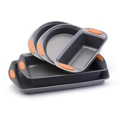 Rachael Ray Bakeware Oven Lovin' 5-Piece Set (Metal) ($50) ❤ liked on Polyvore featuring home, kitchen & dining, bakeware, rectangle cake pan, rachael ray baking pans, rachael ray, nonstick bakeware and metal baking pans