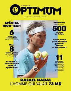 quality design 31cd0 1dcf3 Rafael Nadal covers the June 2015 issue of French magazine L Optimum.