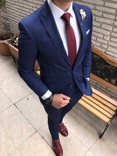 İtalyan style parlement mavisi yelekli erkek takım elbise T1733