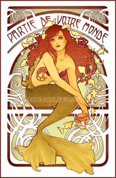 Wanted to go for an old school nouveau vibe with this piece. Inspired by Alphonse Mucha's Chanson's advertisements. Ariel is my natural go-to subject when I'm feeling down/sickly and need something...