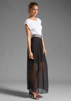 ALICE + OLIVIA Kirean Dolman Dress with Belt in White/Black