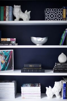 What cheap IKEA bookcases are made for! I want to do this to my bookshelf... paint is white... paint the back navy :)