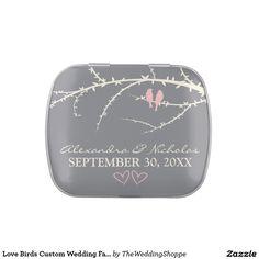 Love Birds Custom Wedding Favor Tins (pink) Jelly Belly Tins