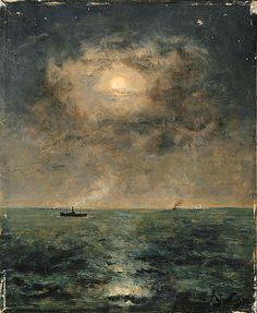 """Alfred Stevens (1823-1906)  """"Moonlit seascape""""  Oil on panel,  1892,  37.6 x 46 cm"""