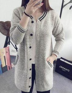 Gray V Neck Wool Cardigan Sweater