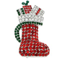 Silvertone Multi-colored Crystal Christmas Stocking Brooch (Christmas boot), Women's, White