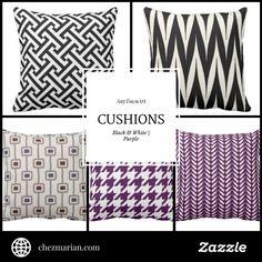 AnyTownArt Cushions | Black & White, Purple