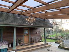 SkyLift Hardware Photo Gallery | Patio Riser Ideas & Examples Patio Roof, Back Patio, Backyard Patio, Outdoor Pergola, Outdoor Decor, Covered Patio Design, Solar Shades, Patio Shade, House Siding