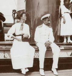 Grand Duchess Olga with Pavel Voronov on deck of The Standart.