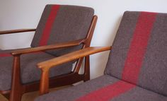 antikmodern: the shop - furniture - Vodder chairs reupholstered with Swiss Army blankets Lodge Furniture, Furniture Redo, Lounge Chair Design, Lounge Chairs, Modern Love, Vintage Furniture, Accent Chairs, Upholstery, Interior Design