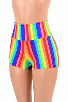 Rainbow Stripe Pride Parade Bright High Waist Rave Festival Shorts Made To Order Festival Shorts, Rave Festival, Festival Wear, Holographic Fabric, What Is Cute, Estilo Pin Up, Pride Outfit, Pride Parade, Glamour