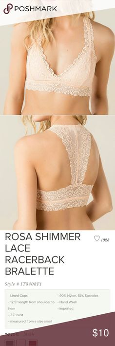 Blush Pink Lace Bralette Rosa Shimmer Lace Racerback Bralette from Francescas! Beautiful & comfortable bralette you can wear everyday! Gently used, wore it a handful of times but still in great condition! Francesca's Collections Intimates & Sleepwear Bras