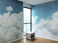 Installation works today. Panoramic fulffy clouds for baby room. ☁☁☁ #clouds…