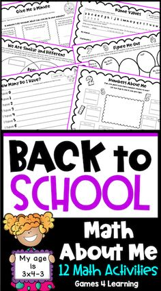All about me math activities for back to school time. There are 12 beginning of the year activities for the first math lessons of the year. Use these with second, third and fourth grade. A great way to ease students back into math with fun math activities with an 'all about me' theme. These are also great as 'getting to know you' activities with a focus on math. Use the in math centers or as small group or whole class activities. Get To Know You Activities, About Me Activities, Fun Math Activities, Back To School Activities, School Resources, Teaching Resources, Teaching Ideas, Fourth Grade, Second Grade