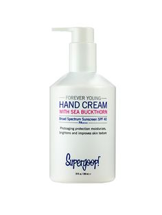 HAND CREAM Supergoop SPF 40 Forever Young Hand Cream lavishes on the moisture with omegas while offering an unprecedented SPF 40.