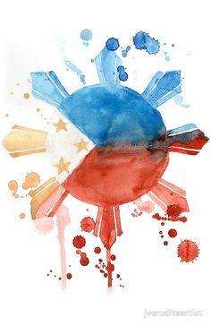 Philippine Flag Art Art Print by jveruditeartist Filipino Art, Filipino Culture, Filipino Tattoos, Filipino Tribal, Filipino Empanada, Philippine Flag Wallpaper, Philippines Tattoo, Images Wallpaper, Wallpapers
