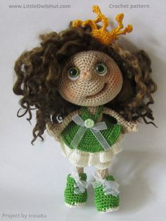 Project by IrinaRa. Doll Princess Amigurumi toy created using LittleOwlsHut…