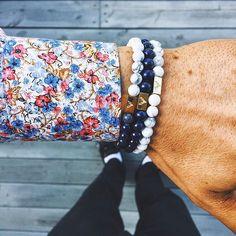 Our new Florence shirt matched with a simple wrist game containing our Blue Lapis and White Howlite bracelets     www.Oscarwoodington.com    #Regram via @oscarwoodington