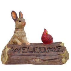 HomeStyles  Call of the Wild Bunny Rabbit and Bird Garden Sign