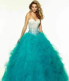 Blur and white prom dress with blue ruffels