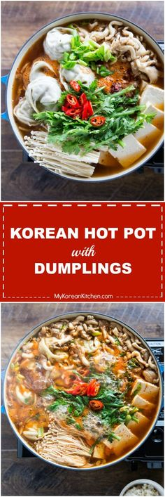 Spicy Korean hot pot with dumplings. It's loaded with super-sized dumplings, kimchi, tofu and mushrooms. Your ultimate comfort hot pot recipe. Asian Recipes, Healthy Recipes, Ethnic Recipes, Hawaiian Recipes, Hot Pot Recipes, Asian Desserts, Recipes Dinner, Healthy Food, Korean Kitchen