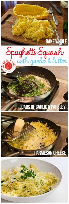 Baked Spaghetti Squash with Garlic and Butter- LOVE spaghetti squash recipes. So healthy! I really need to try spaghetti squash someday. Vegetable Dishes, Vegetable Recipes, Chicken Recipes, Paleo Recipes, Dinner Recipes, Veggie Recipes Healthy, Dinner Ideas, Kitchen Recipes, Clean Recipes