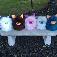 Five furry Fuzzlings all in a row.  These monsters will be available for adoption at my booth during Etsy MIC Canada - Kingston.