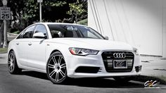 "Audi A6 with 20"" c883 in custom gloss white\matte black finish"