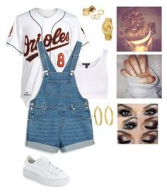 """Untitled #1192"" by daegugod on Polyvore featuring Mitchell & Ness, Puma, Topshop, Monki, Rolex, Pieces and Kate Spade"