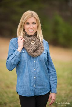 Chunky Button Cowl - Versatile, wool blend cowl scarf in Barley brown, featuring a stylish carved coconut button.