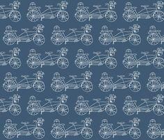 Vintage Traveler - Navy fabric by pattysloniger on Spoonflower - custom fabric