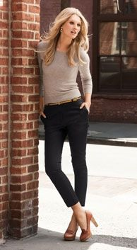 black skinny pants + brown