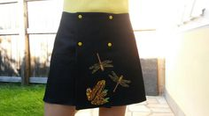 Wrapped skirt with Husquarna embroidery