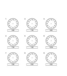 Nauka zegara – dorysuj wskazówki – część 2 Math School, Clock, Worksheets, Education, Watch, Clocks, Literacy Centers, Onderwijs, Learning