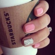 nail polish, starbuck, pink nails, ring finger, manicur, glitter nails, sparkle nails, party nails, sparkly nails