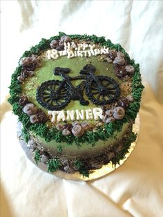 Mountain bike cake by Inphinity Designs. lease visit my FB page Inphinity Designs at https://m.facebook.com/profile.php?id=71791500352&refsrc=https%3A%2F%2Fwww.facebook.com%2Fpages%2FInphinity-Designs%2F71791500352